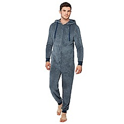 Lounge & Sleep - Navy plain fleece onesie