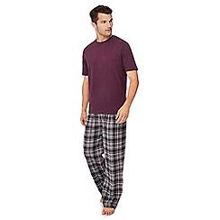 Lounge & Sleep - Big and tall dark purple cotton pyjama set