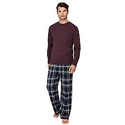 Lounge & Sleep - Dark purple cotton pyjama set