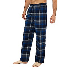 Lounge & Sleep - 2 pack blue and purple checked pyjama bottoms