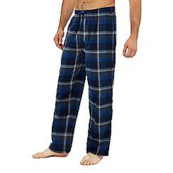 Lounge & Sleep - 2 pack blue and purple checked pyjama bottoms