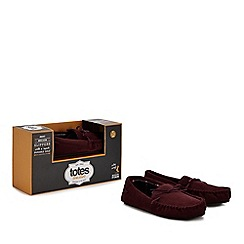 Totes - Wine red moccasin slippers