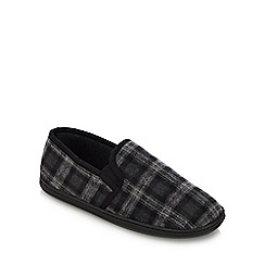 Maine New England - Black check print carpet slippers
