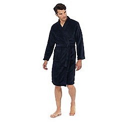 Lounge & Sleep - Navy ribbed fleece dressing gown