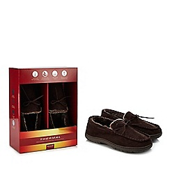 Maine New England - Chocolate brown 'Thinsulate' memory foam moccasin slippers