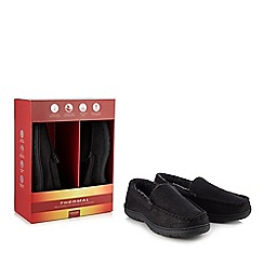 Maine New England - Black 'Thinsulate' memory foam moccasin slippers