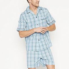 Lounge & Sleep - Big and tall aqua checked cotton pyjama set