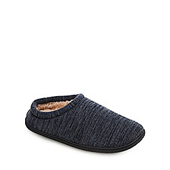 Mantaray - Navy Waffle Knit Mule Slippers