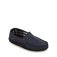 Lounge & Sleep - Navy Quilted Moccasin Slippers