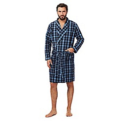 Maine New England - Big and tall navy checked lightweight dressing gown