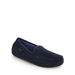 Isotoner - Navy 'Pillowstep' moccasin slippers