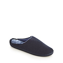 Totes - Navy waffle 'Pillowstep' mule slippers