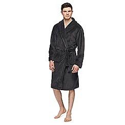 Hammond & Co. by Patrick Grant - Dark grey checked print fleece dressing gown