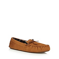 Maine New England - Tan microsuede moccasin slippers