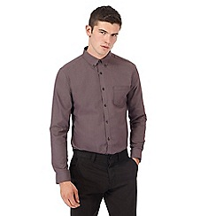Red Herring - Big and tall dark red puppytooth slim fit shirt