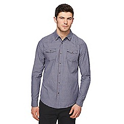 Red Herring - Blue gingham print slim fit western shirt