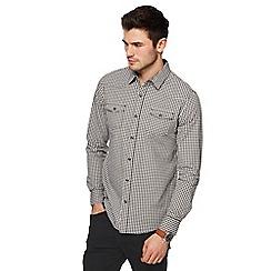 Red Herring - Big and tall khaki gingham print slim fit western shirt