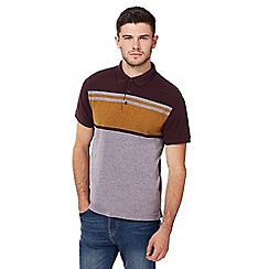 Red Herring - Big and tall dark red block striped slim fit polo shirt