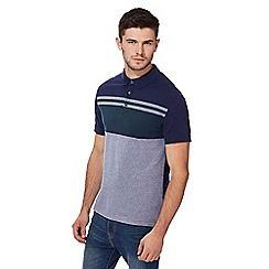 Red Herring - Big and tall navy block striped slim fit polo shirt
