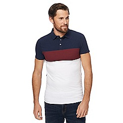 Red Herring - Dark red and navy striped muscle fit polo shirt