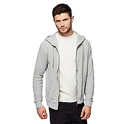 Red Herring - Big and tall light grey pique zip through hoodie