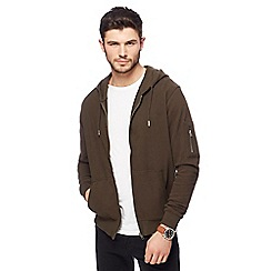 099010145495_BT: Big and tall khaki pique zip through hoodie