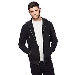 Red Herring - Black pique zip through hoodie