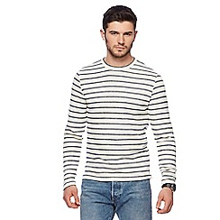 Red Herring - Big and tall off white stripe print crew neck top