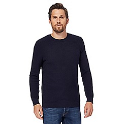 Red Herring - Big and tall navy racking stitch jumper