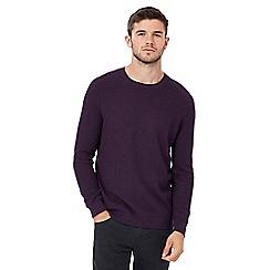 Red Herring - Big and tall purple racking stitch jumper