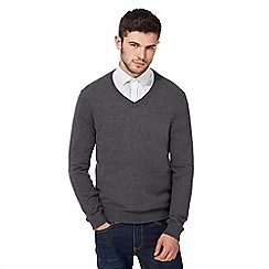 Red Herring - Big and tall grey V-neck jumper