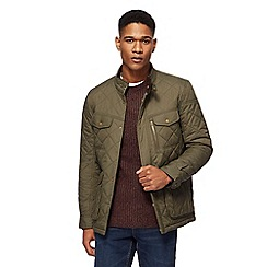 Red Herring - Big and tall khaki quilted zip detail jacket