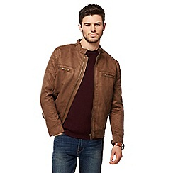 Red Herring - Tan suedette biker jacket