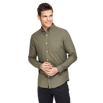 Red Herring   Green Long Sleeve Oxford Shirt by Red Herring