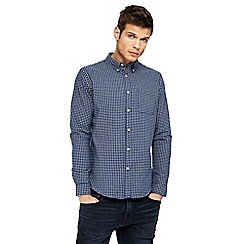 Red Herring - Navy checked long sleeve Oxford shirt