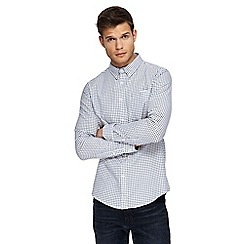 Red Herring - Big and tall white checked long sleeve oxford shirt