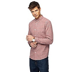 Red Herring - Red textured checked slim fit shirt