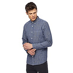 Red Herring - Big and tall navy textured checked slim fit shirt