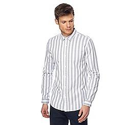 Red Herring - Grey wide stripe slim fit Oxford shirt