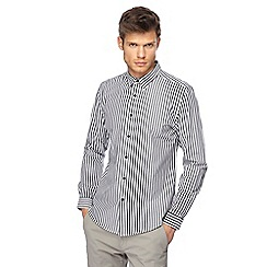 Red Herring - Big and tall black stripe long sleeve slim fit shirt
