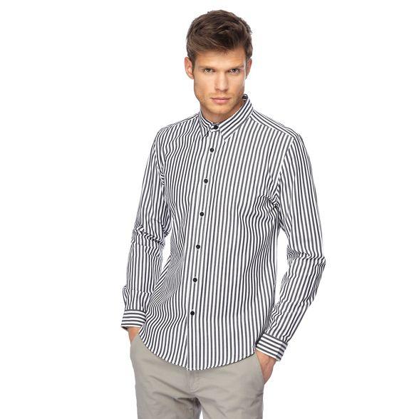 slim fit sleeve black Herring Red long shirt tall Big and stripe pgnZ8q