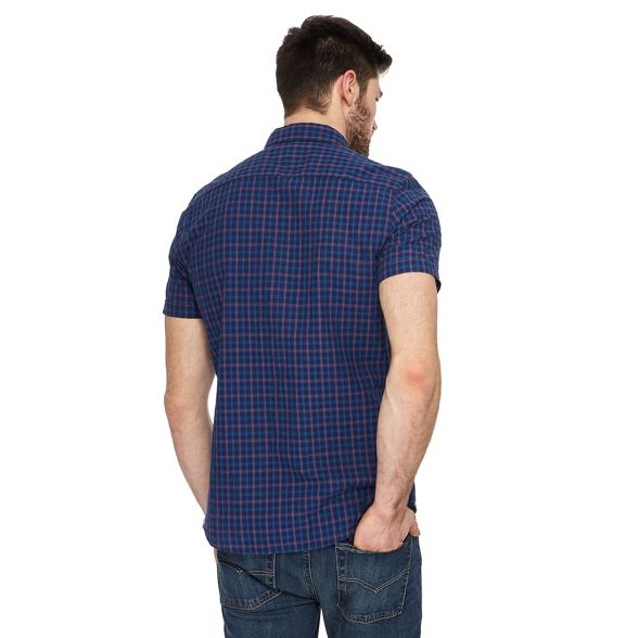 and tall Big slim shirt navy checked fit Herring Red wYtBq5Et