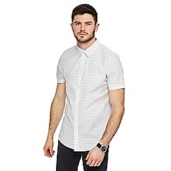 Red Herring - Big and tall white line print slim fit shirt