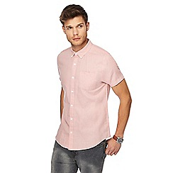 Red Herring - Big and tall pink linen blend slim fit shirt