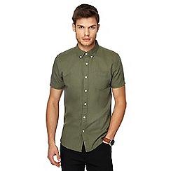 Red Herring - Khaki linen blend slim fit shirt