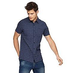 Red Herring - Navy glitch stitch slim fit shirt