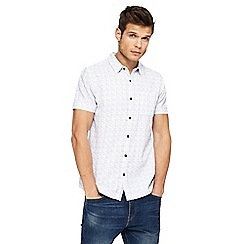 Red Herring - White glitch stitch slim fit shirt