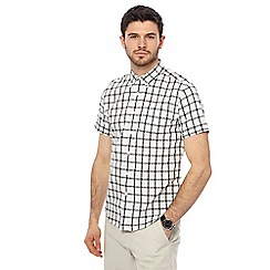 Red Herring - Big and tall white checked short sleeve shirt