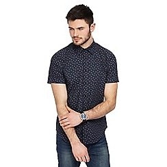 Red Herring - Big and tall navy dot daisy print slim fit shirt