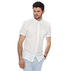 Red Herring - White vertical stitch slim fit shirt